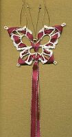 BUTTERFLY ~ Bookmark ~ White w Burgandy