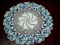 DOILY ~ Shaded Lt Blue Pansies