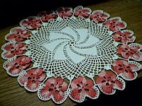 DOILY ~ Flamingo Pansies