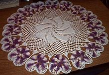DOILY ~ Shaded Lilacs Pansies