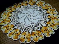 DOILY ~ Shaded DARK Yellow Pansies
