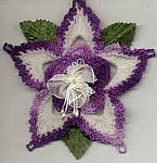 FLOWER ORNAMENT ~ Columbine ~ Shaded Dk Purples w Off/White
