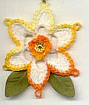 FLOWER ORNAMENT ~ Narcissus ~ Shaded Dk Yellows w Off/White