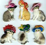 Cats w Hats MAGNETS ~ Assorted
