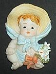 MAGNET~ Victorian Baby w Flowers