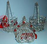 Wire HEART BASKETS ~ Silver w Beads