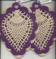 POTHOLDERS ~ Victorian Pineapple ~ Purple & Cream