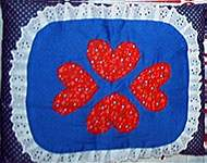 QUILT SET PILLOW ~ Calico Mouse w Hearts