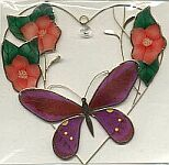 SUNCATCHER ~ Butterfly in Heart w Crystal