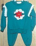 CHILDRENS ~ Green Sweatsuit w Poinsettia & Ruffles