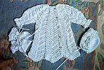 BABY SWEATER SET ~ Cotton ~ White Ripple & Tapered Sleeve