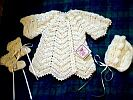 BABY SWEATER SET ~ Lt Yellow ~ Ripple w Flared Sleeves