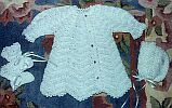 BABY SWEATER SET ~ White Ripple w Tapered Sleeves