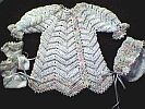 BABY SWEATER SET ~ White w Multi-Tones ~ Tapered Sleeves