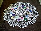 DOILY/CENTERPIECE ~ Candy Hearts w Lace Fans