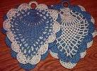 Pineapple POTHOLDERS ~ Blue w Cream
