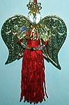 CRYSTAL  TASSEL ANGEL ~ Red w Gold Wings