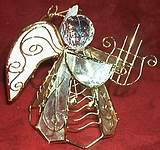 CAPIZ SHELL ANGEL ~ Lyre & Solid Wings