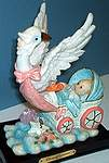 STORK FIGURINE ~ Baby in Carriage