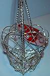Wire Heart BASKET ~ Silver w Pink Beads