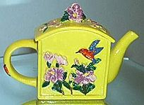 MINIATURE ~ Yellow Floral Teapot