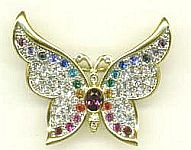 PIN ~ Crystal Butterfly ~ Assorted Stones