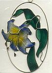 SUNCATCHER ~ Blue Lily in Oval