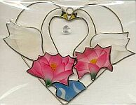 SUNCATCHER ~ Swans in Heart w Crystal & Water Lilies