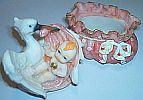 STORK Trinket Box ~ Baby in Pink ~ 2 pc