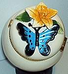 Butterfly Floral TRINKET BOX ~ Blue/Black w Aconite