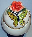 Butterfly Floral TRINKET BOX ~ Green w Coral Rose