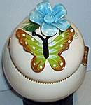 Butterfly Floral TRINKET BOX ~ Green/Brown w ForgetMeNot