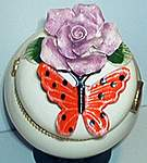 Butterfly Floral TRINKET BOX ~ Orange w Lilac Rose