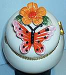 Butterfly Floral TRINKET BOX ~ Pink w Zinnia